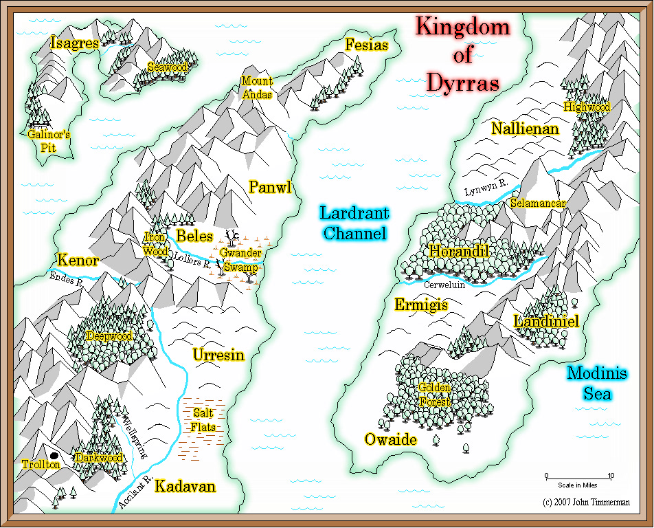 Fantasy overland map - Kingdom of Dyrras
