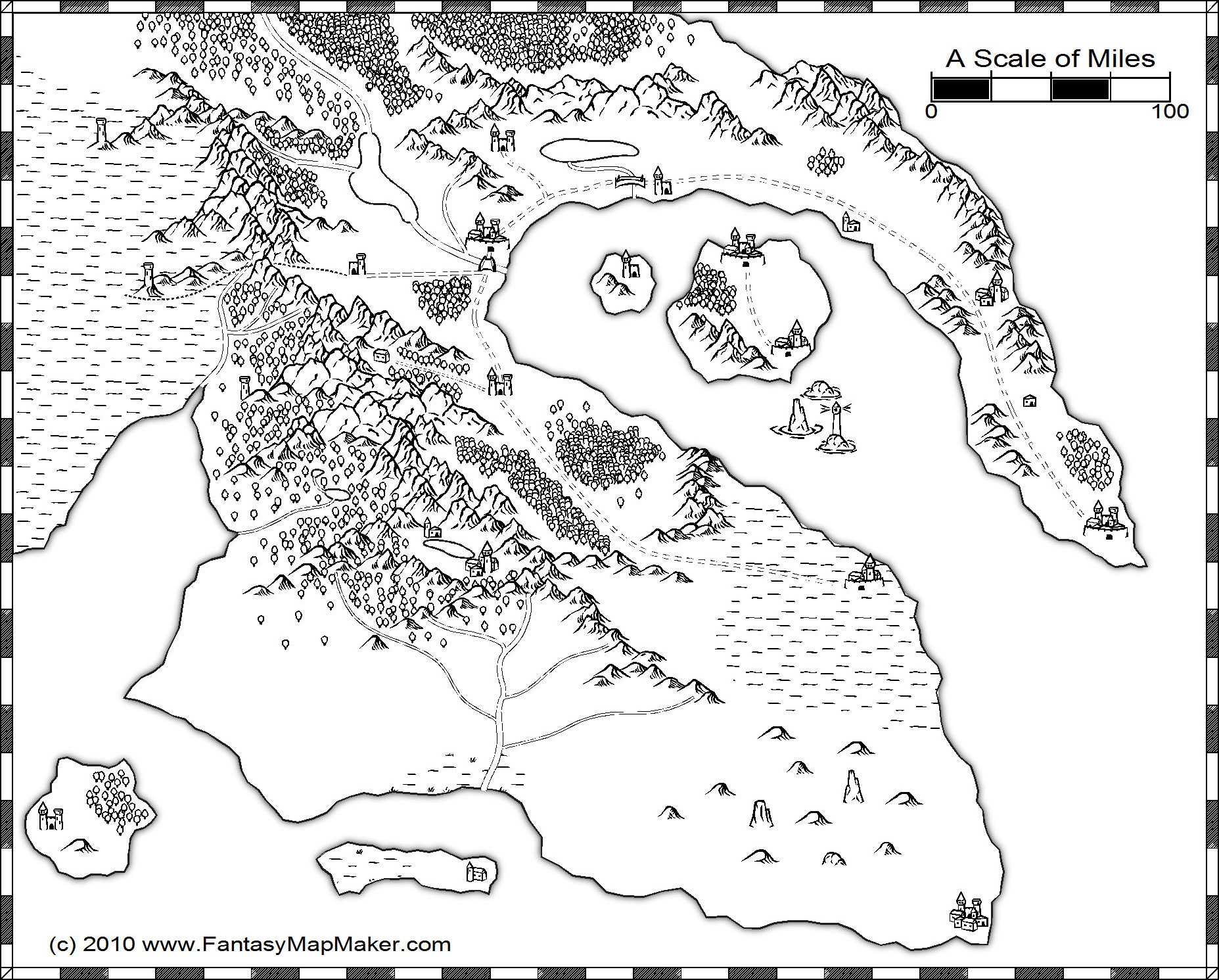 Black And White Overland Map Free Fantasy Maps - Unlabelled map