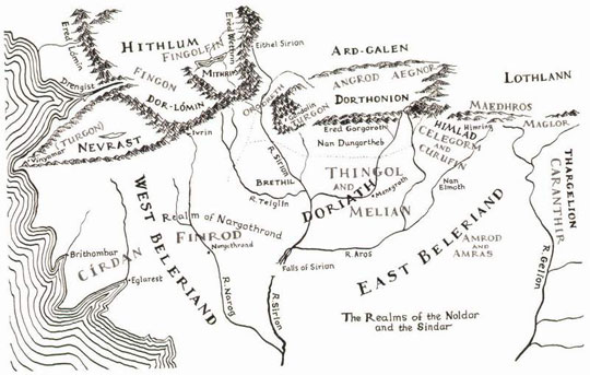 map of Beleriand – the ancient coast of northwestern Middle-Earth