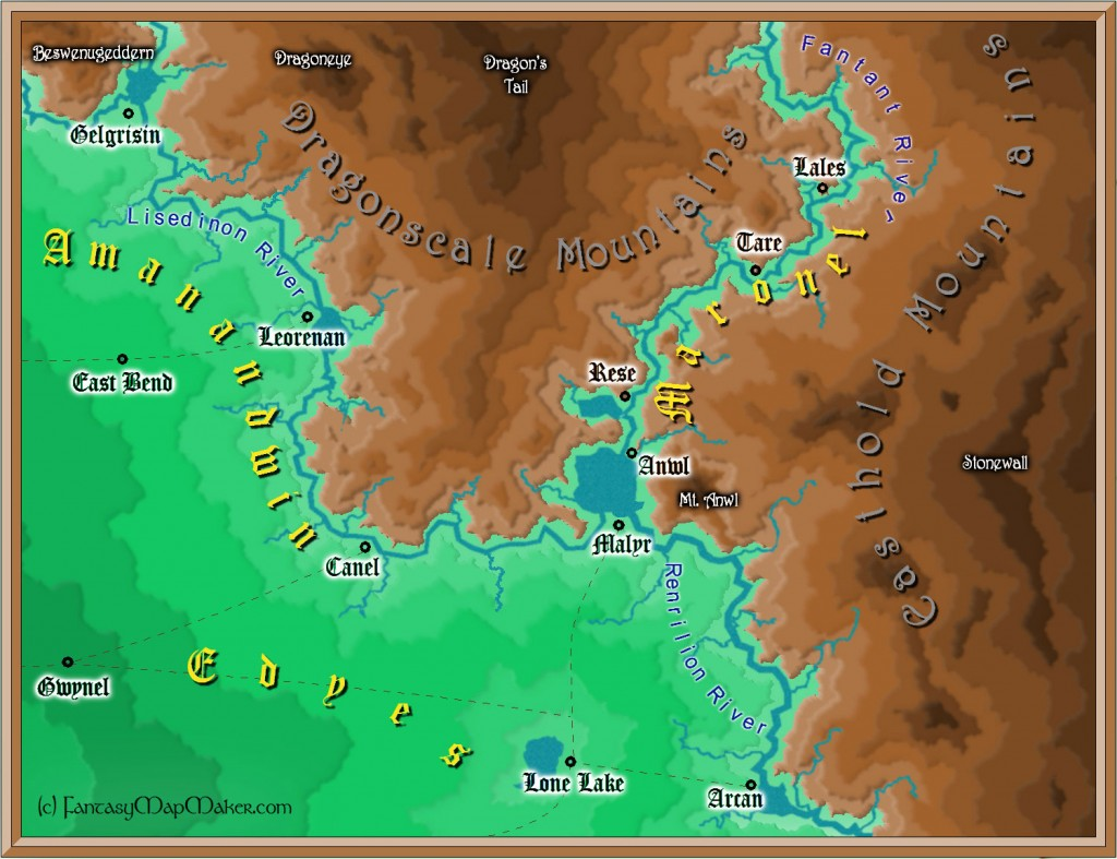 fantasy map with mountains and valleys